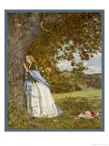 """The Talking Oak"", Illustration to the Poem by Tennyson: a Girl and a Tree Share Confidences Giclee Print by W. Maw"