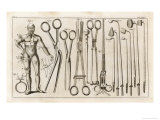 Selection of Medical Appliances Including Forceps and a Hook to Extract Bullets Giclee Print by Heister