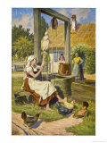 The Stepdaughter Spinning at the Well Where Her Adventure Begins Giclee Print by O. Kubel