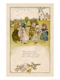 Six Children Dance in a Circle to Play Ring O' Roses Giclee Print by Kate Greenaway