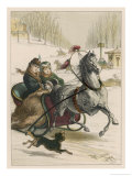 Two Spanish Ladies Go for a Sleigh Ride Accompanied by Their Dog Giclee Print by D. Eusebio Planas