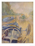 The Race as the Bugatti Driver Sees It Giclee Print by Geo Ham