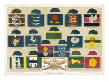 Badges Caps and Colours of English County Cricket Clubs Reproduction procédé giclée par Alfred Lambert