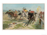 Dramatic and Colourful Horse Race in Bosnia Giclee Print by Georges Scott