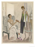 Designs by Perugia: White Strapless Dress with Red and Gold Shoes Giclee Print by Jean Grangier