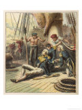 Admiral Nelson Lies Mortally Wounded at the Battle of Trafalgar Giclee Print by Joseph Kronheim