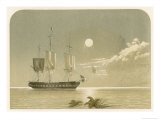 Sailing Vessel Becalmed on a Moonlit Night Giclee Print by F. Lydon