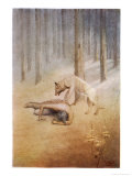 "Young Indian Encounters His Totem Spirit ""Utonagan"" in the Form of a She-Wolf Premium Giclee Print by James Jack"