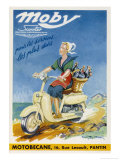 The Moby by Motobecane Takes a French Countrywoman to Market Giclee Print by Geo Ham