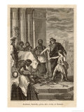 Hannibal as a Child Swearing Life-Long Hostility to Rome at His Father Hasdrubal's Bidding Giclee Print by G. Santino