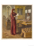 William Caxton Reads a Proof Sheet from His Printing Press Giclee Print by Joseph Kronheim
