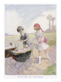 Two Little Girls Play at Mothers Wheeling Their Dolls in Their Prams Through the Park Giclee Print by Kay