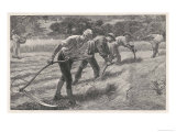 Four Men Scythe Hay into Rows: a Woman Brings Their Lunch Giclee Print by Henry Roberts