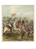 The British Line Holds Against French Cavalry at the Battle of Waterloo Giclee Print by Joseph Kronheim