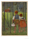 Hansel and Gretel See a Pretty Cottage in the Distance and Think They Might Shelter There Gicléetryck av Willy Planck