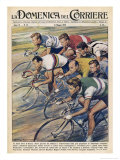 "Riders in the ""Giro d""Italia"" the Most Important Italian Cycle Race Giclée-Druck von Walter Molini"