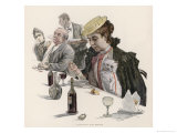 Young Woman Eats Soup in a Restaurant in the Company of Her Fluffy Kitten Giclee Print by E. Rosenstand