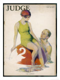 Lime Green Tank Style One- Piece Bathing Costume Worn with a Red Bathing Cap Giclee Print by Guy Hoff