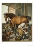 Blacksmith Puts a New Shoe on a Bay Mare Giclee Print by Edwin Henry Landseer