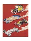 Four Very Different and Unequally Advantaged Cars Racing Reproduction procédé giclée par Geo Ham