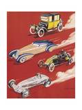 Four Very Different and Unequally Advantaged Cars Racing Giclee Print by Geo Ham