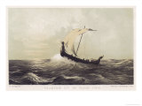 Viking Vessel Heads out into the Open Sea Her Sail Bellying out Before a Favouring Wind Giclee Print by W.j. Hofdijk