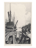 """The Old Shipyard"", a Carpenter Shapes the Timbers of a Sailing Vessel Giclee Print by Thornton Oakley"