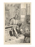 Martin Luther at Work on His Translation of the Bible into German Gicle-tryk af U. Roat