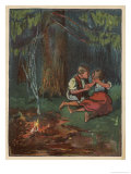 Hansel Tries to Comfort Gretel: They are All Alone at Night in the Wood Giclee Print by Willy Planck