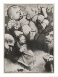 Gargantua as a Baby: He Has to be Carried by Several Villagers Because of His Enormous Size Giclee Print by Heath Robinson