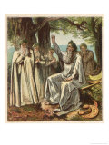 Druid Priests of Ancient Britain in Contemplative Mood in a Forest Premium Giclee Print by Joseph Kronheim