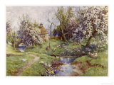 Picturesque Stream in the English Countryside with Geese Premium Giclee Print by G.f. Nicholls