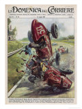 Alfredo Tinazzo and Antonio Crivellari Collide at 160 Km/H Giclee Print by Walter Molini