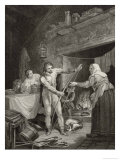 King Alfred is Verbally Abused by the Neatherd's Wife for Letting Her Cakes Burn Giclee Print by J. Rogers