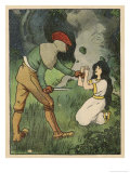 Snow White Kneels and Begs for Mercy as a Ruffian Makes Ready to Kill Her Giclee Print by Willy Planck