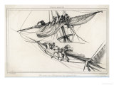 Sailors on the Yard-Arm Furling Sail Giclee Print by Pardinel