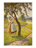 The Stepdaughter Gathers the Apples Giclee Print by O. Kubel