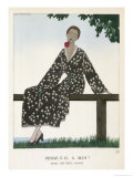 Soft Loose Fitting Wrap Over Dress in a Black Spotted Fabric Giclee Print by A.e. Marty