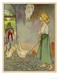 The Goose Girl Looks up at a Horse's Head Hanging on the Wall Giclee Print by Willy Planck