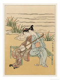 Two Japanese Lovers Play the Shamisen Premium Giclee Print by Suzuki Harunobu