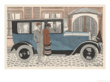 The Owners of a Peugeot Give Instructions to Their Chauffeur Giclee Print by Jean Grangier