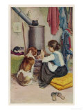 Girl a Large Dog and a Small Cat Sit Warming Themselves at an Open Stove Giclee Print by Percy Harland Fisher