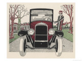 Front-On View of a Peugeot with Its Smartly Dressed Owner Giclee Print by Jean Grangier