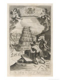 In Hope of Reaching Heaven Noah's Descendants Erect a Ziggurat in the Plain of Shinar Giclee Print by Michael van der Gucht