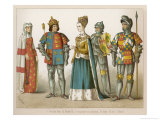 Clothing of English and Scottish Royalty a Lady of Rank and a Knight and an Earl in Full Armour Giclee Print by Albert Kretschmer