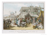 Various Activities Happen Between Races Such as Drinking and Gambling Giclee Print by Thomas Rowlandson