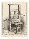 Benjamin Franklin's Printing Press Reproduction procédé giclée
