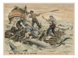 Convicted Robber Eddie Guerin Escaping from Devil's Island with Fellow-Cons Meets Sharks off Guyana Giclee Print