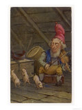 "Norwegian ""Nisse"" Fiddles While Pigs Dance Giclee Print"