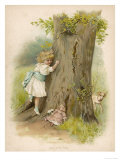 Little Girl Plays Hide and Seek with Her Doll and Her Dog Giclee Print